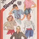 SIMPLICITY VINTAGE PATTERN 5663 MISSES' SET OF SHIRTS IN 5 VARIATIONS SIZE 18