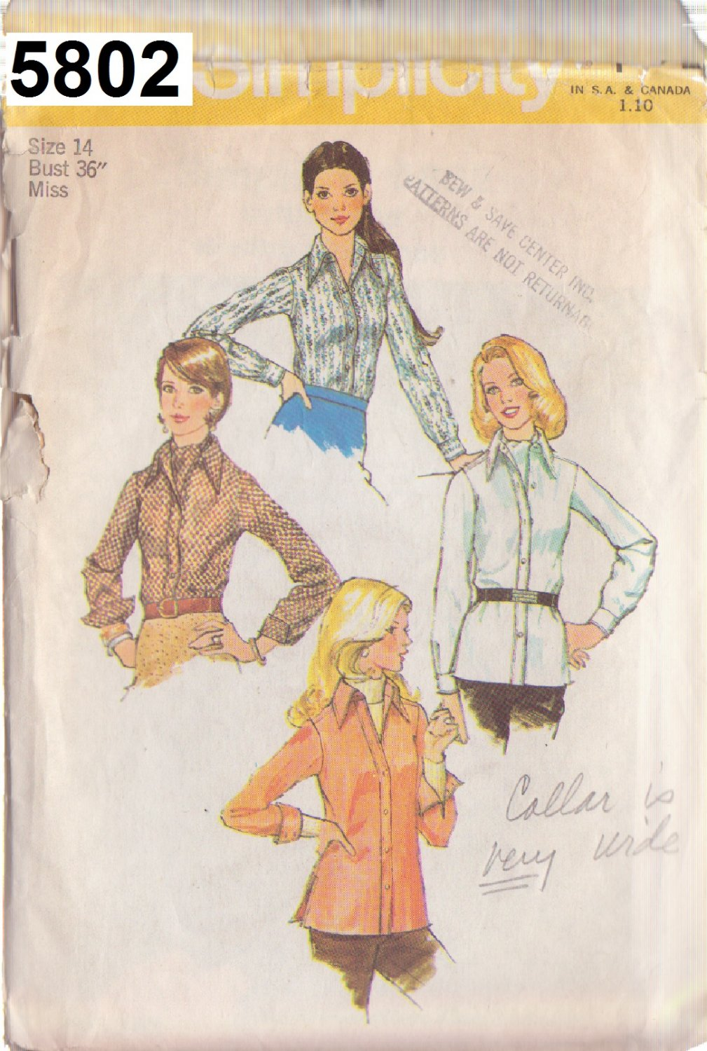 SIMPLICITY 5802 VINTAGE PATTERN MISSES' SHIRT AND ASCOT TIE SIZE 14