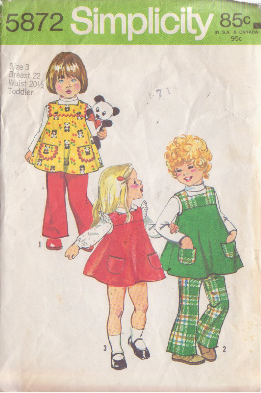 SIMPLICITY VINTAGE PATTERN 5872 GIRLS� JUMPER, BELL BOTTOM PANTS SIZE 3