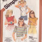 SIMPLICITY VINTAGE PATTERN 5859 GIRL'S ONE YARD TOPS 4 VARIATIONS SZS 10/12/14