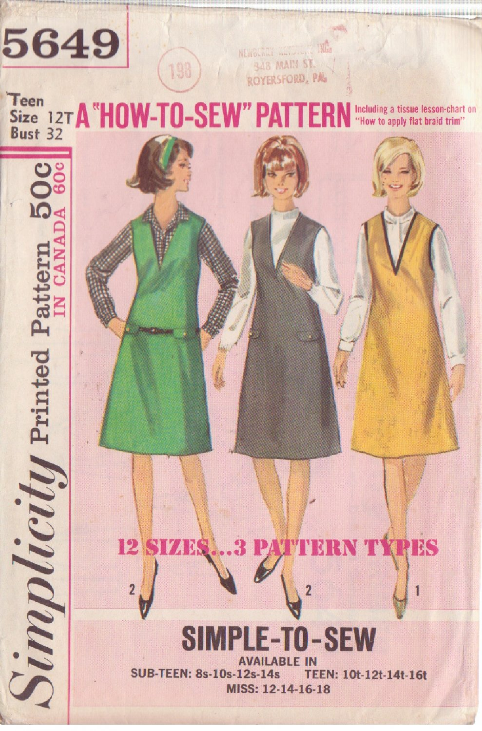 SIMPLICITY VINTAGE PATTERN 5649 TEEN JUMPER IN 3 VARIATIONS SZ 12T
