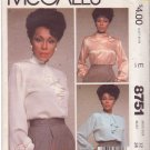 McCALL'S VINTAGE PATTERN 8751 MISSES' BLOUSE IN 3 VARIATIONS SIZE 12 UNCUT