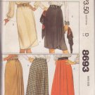 McCALL'S VINTAGE PATTERN 8693 MISSES' SKIRT IN 5 VARIATIONS SIZE MD 14/16 UNCUT