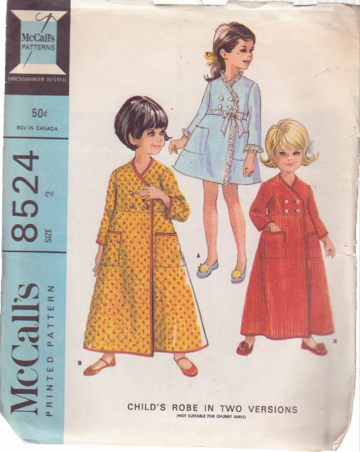 McCALL'S VINTAGE PATTERN 8479 GIRLS' ROBE 2 VARIATIONS SIZE 2