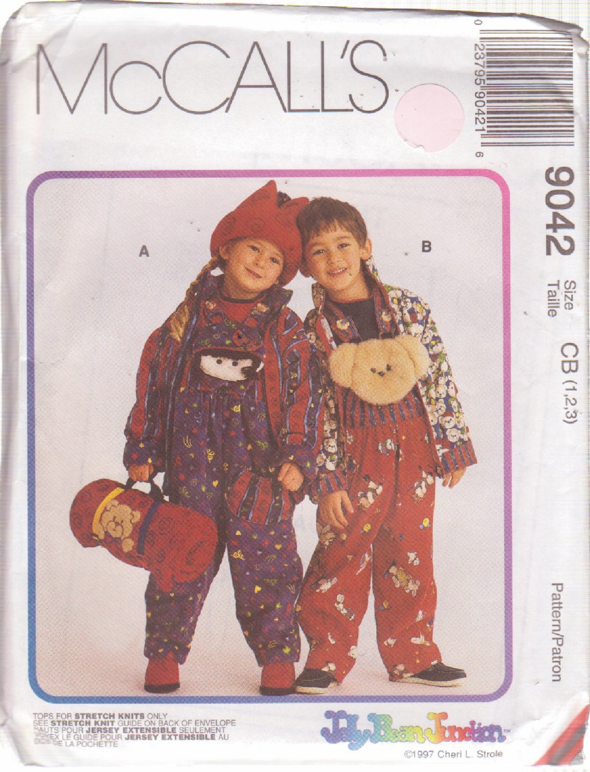 McCALL'S PATTERN 9042 CHILD'S JACKET, OVERALLS, TOP, HAT, BLANKET ROLL SZS 1/2/3