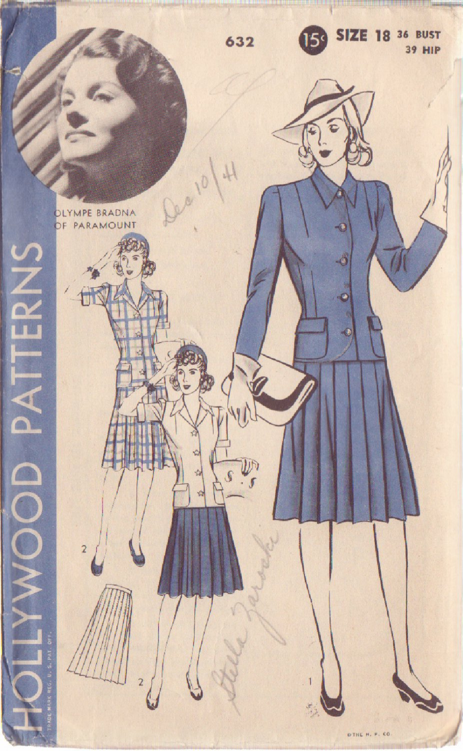 HOLLYWOOD PATTERN 632 MISSES' 2 PC SUIT 2 VARIATIONS SZ 18 OLYMPE BRADNA