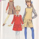 SIMPLICITY PATTERN 7793 GIRLS' DRESS, JUMPER, PANTJUMPER, COLLAR, CUFFS SIZE 8