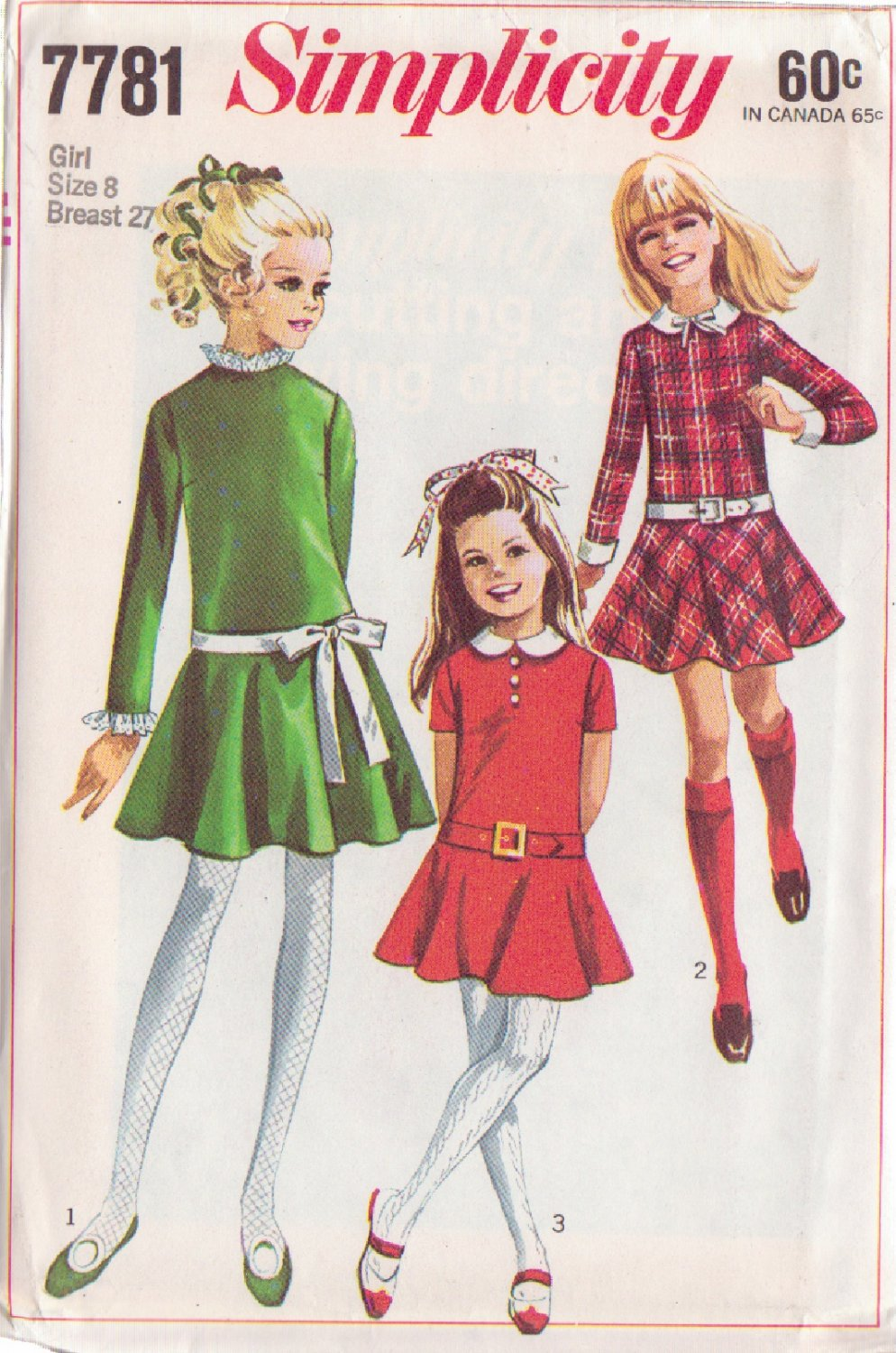 SIMPLICITY PATTERN 7781 GIRLS' DRESS WITH DETACHABLE COLLAR, CUFFS SIZE 8
