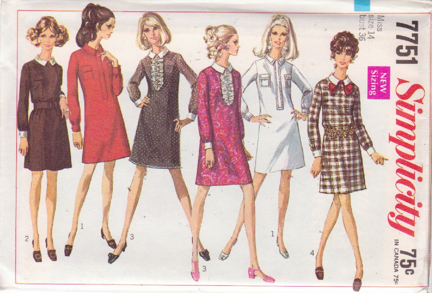 SIMPLICITY VINTAGE PATTERN 7751 MISSES' DRESS IN 4 VARIATIONS SIZE 14