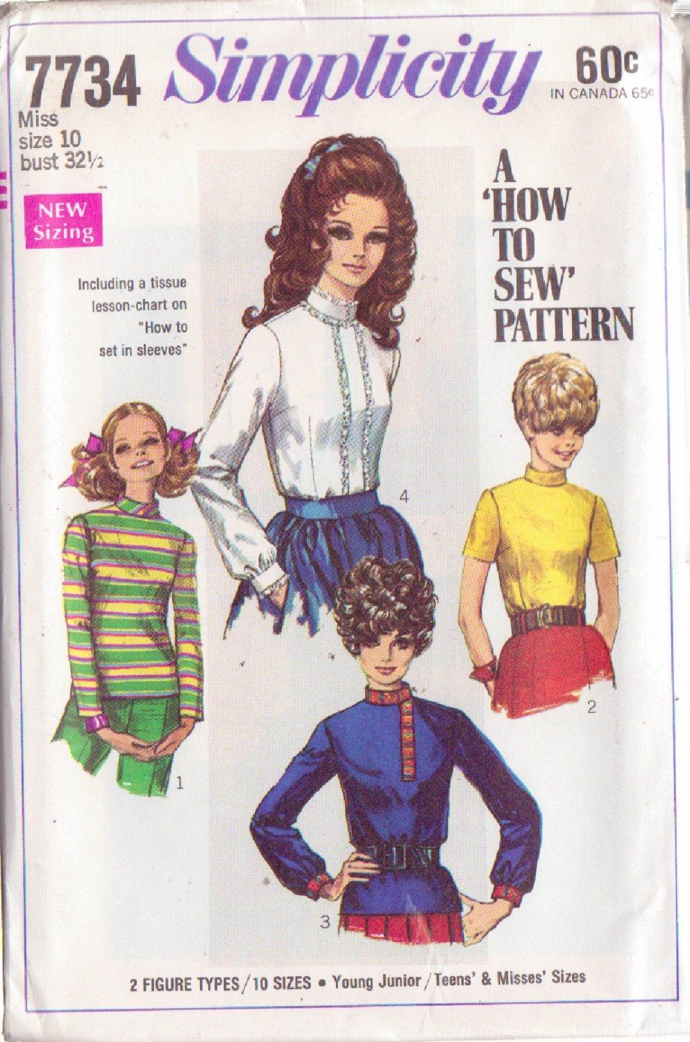 SIMPLICITY VINTAGE PATTERN 7734 MISSES BLOUSES IN 4 VARIATIONS SIZE 10