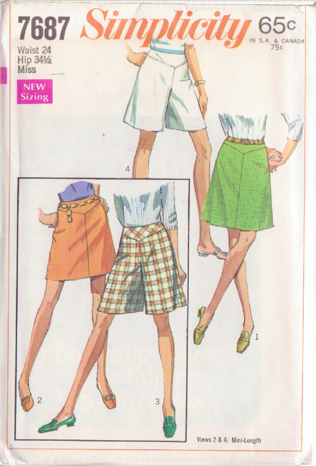 SIMPLICITY PATTERN 7687 MISSES' SKIRT OR PANTSKIRT IN 2 LENGTHS SIZE 24
