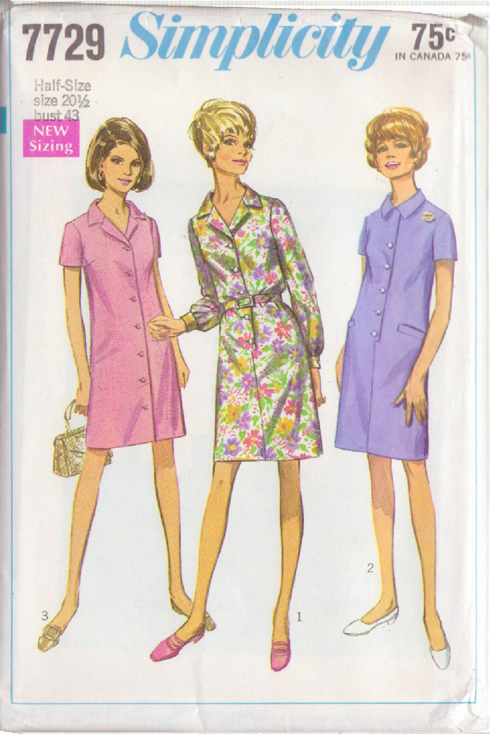 SIMPLICITY PATTERN 7729 MISSES' STEP IN DRESS AND COAT DRESS SIZE 20 1/2
