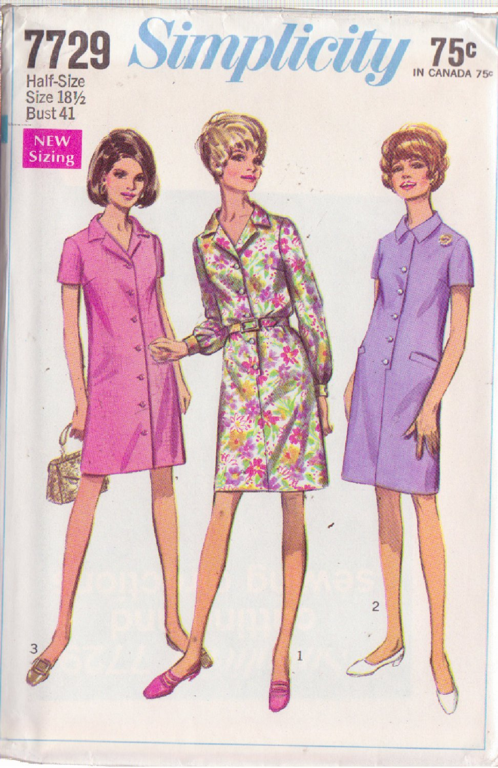SIMPLICITY PATTERN 7729 MISSES' STEP IN DRESS AND COAT DRESS SIZE 18 1/2