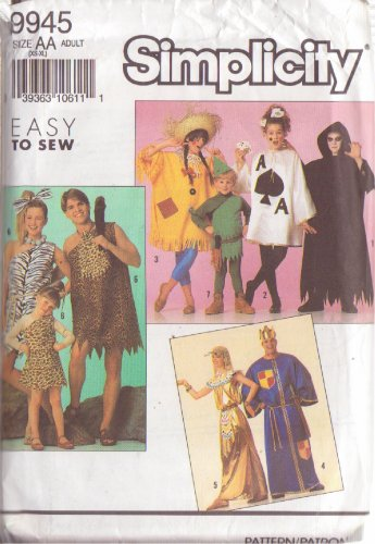 SIMPLICITY PATTERN 9945 FOR ADULT 8 DIFFERENT COSTUMES SIZES XS-XLG