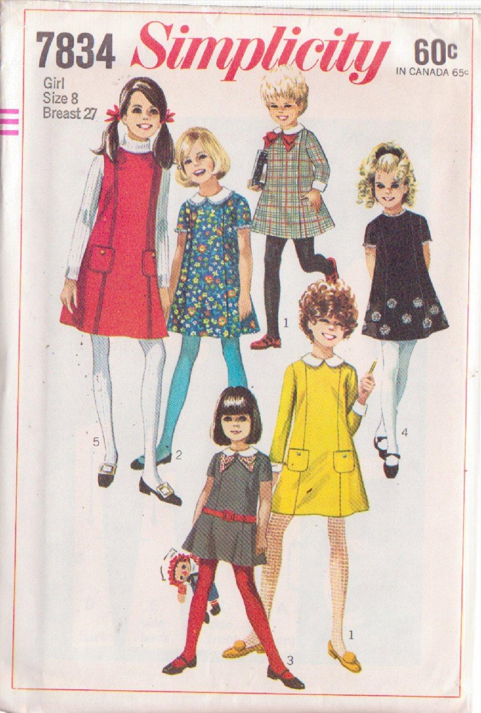 SIMPLICITY VINTAGE PATTERN 7834 GIRL�S DRESS OR JUMPER SZ 8