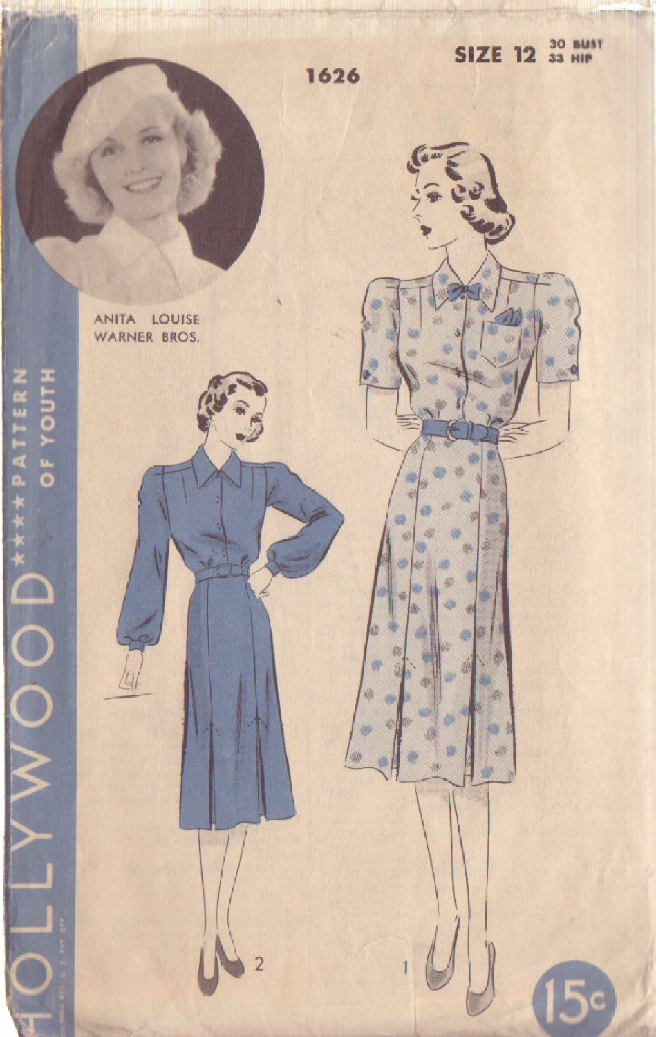 HOLLYWOOD PATTERN 1626, 1930/40'S MISSES' 1 PC FROCK IN 2 VARIATIONS SIZE 12