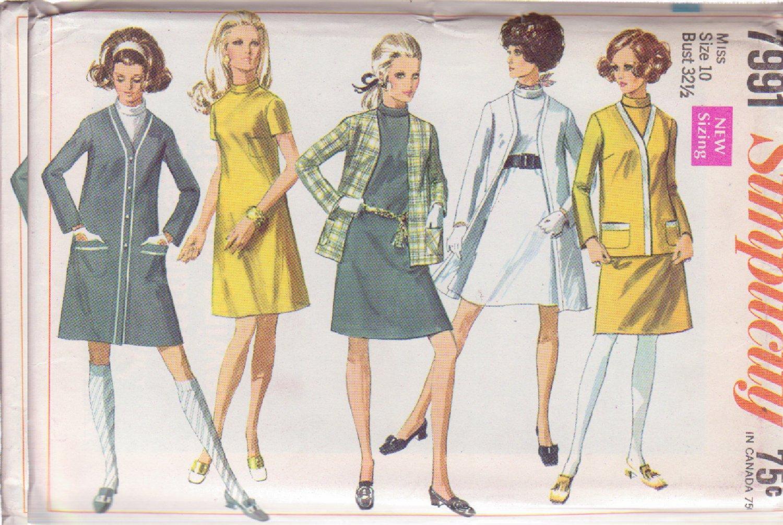 SIMPLICITY VINTAGE PATTERN 7991 MISSES' DRESS, CARDIGAN COAT, JACKET SIZE 10 UNCUT