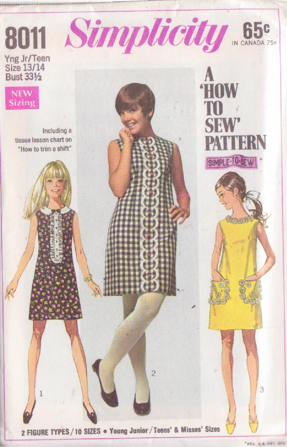 SIMPLICITY PATTERN 8011 YNG JR/TEEN DRESS IN 3 VARIATIONS SIZE 13/14 UNCUT