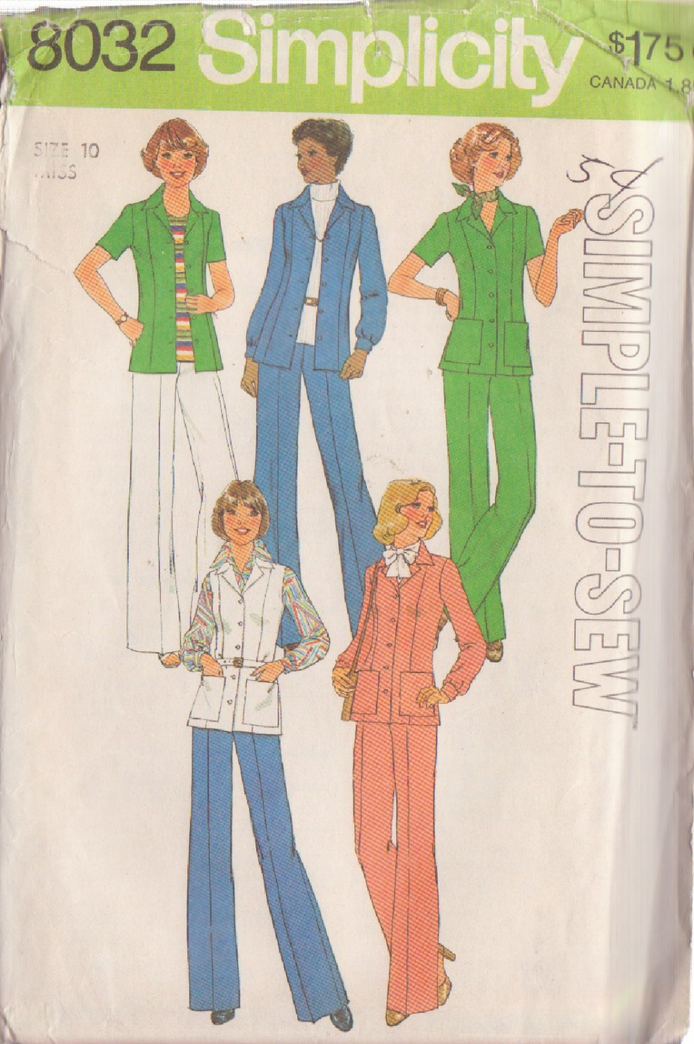SIMPLICITY PATTERN 8032 MISSES' SHIRT-JACKET, PANTS SIZE 10 UNCUT