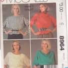McCALL'S PATTERN 8964 MISSES' BLOUSE OR TOPS IN 4 VARIATIONS SIZE XL 22/24