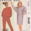McCALL'S PATTERN 9140 MISSES' DRESS OR TOP AND PANTS SIZE SMALL 10/12