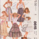 McCALL'S PATTERN 8615 MISSES' SKIRT IN 4 VARIATIONS SIZE 8