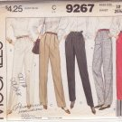McCALL'S VINTAGE PATTERN 9267 MISSES' PANTS IN 4 VARIATIONS SIZE 12