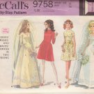 McCALL'S VINTAGE PATTERN 9758 MISSES' BRIDES, BRIDESMAID DRESS 2 STYLES SIZE 14