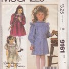 McCALL'S PATTERN 9161 CHILD'S LITTLE HOUSE ON THE PRAIRIE DRESS SIZE 2