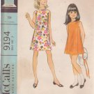 McCALL'S PATTERN 9194 CHILD'S DRESS SIZE 7
