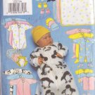 BUTTERICK PTTRN 5220 INFANTS' BUNTING,JUMPSUIT,SHIRT,DIAPER COVER,HAT,BIB,MITTENS,BOOTIES,BLANKET