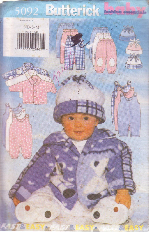 BUTTERICK PATTERN 5092 INFANTS' JACKET, JUMPSUIT, PANTS, HAT SIZE NB/S/M UNCUT