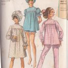 SIMPLICITY PATTERN 7841 MISSES' PAJAMAS IN 2 LENGTHS, NIGHTGOWN CURLER CAP SZ 12
