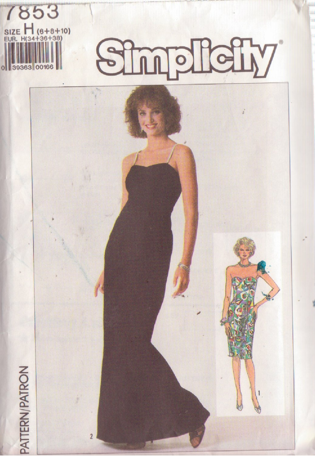 SIMPLICITY PATTERN 7853 MISSES' EVENING DRESS IN 2 LENGTHS SIZES 6/8/10