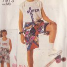 SIMPLICITY PATTERN 7973 CHILD'S SURFER SHORTS SIZE MEDIUM 23-24 1/2 WAIST