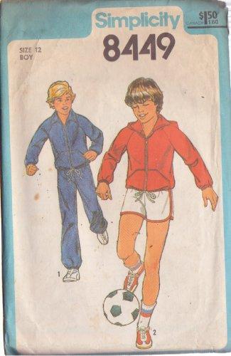 SIMPLICITY PATTERN 8449 BOYS' UNLINED JACKET, HOOD, PANTS, SHORTS SIZE 12