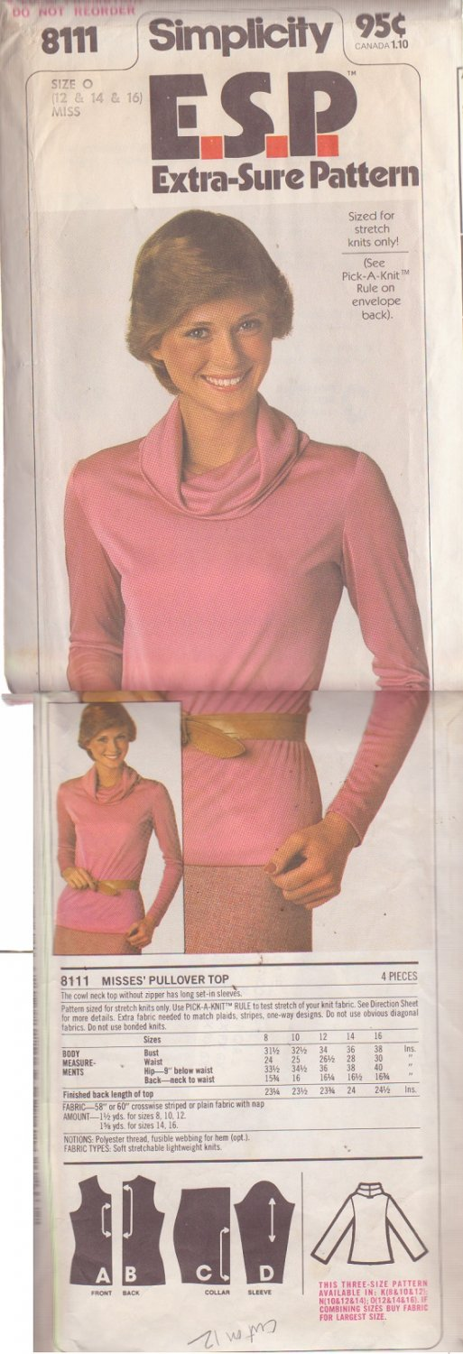 SIMPLICITY PATTERN 8111 MISSES PULLOVER TOP SIZE 12