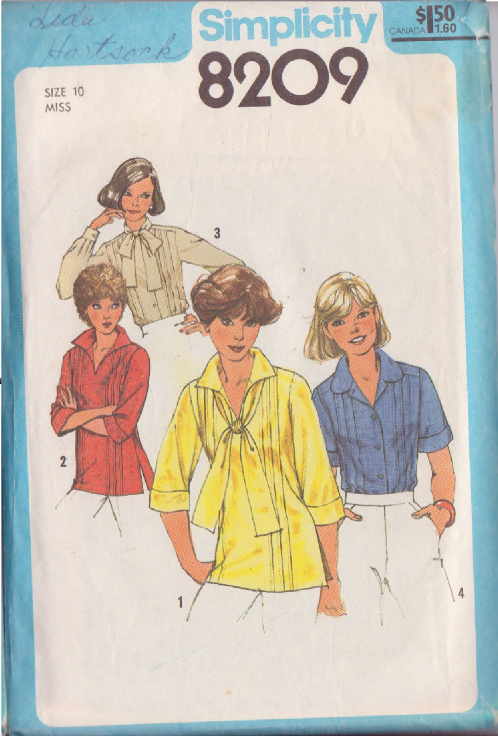 SIMPLICITY PATTERN 8209 MISSES' BLOUSES, PULLOVER TOP 4 VARIATIONS SIZE 10
