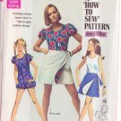 SIMPLICITY PATTERN 8063 MISSES' BLOOMER PLAYSUIT, REVERSIBLE MINI WRAP SKIRT SIZE 12