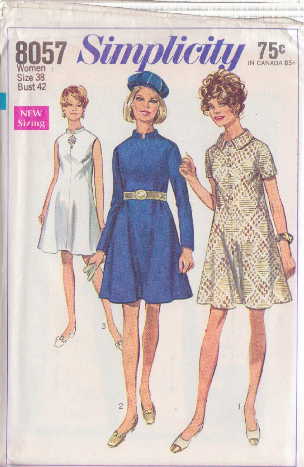 SIMPLICITY PATTERN 8057 MISSES' DRESS IN 3 VARIATIONS SIZE 38