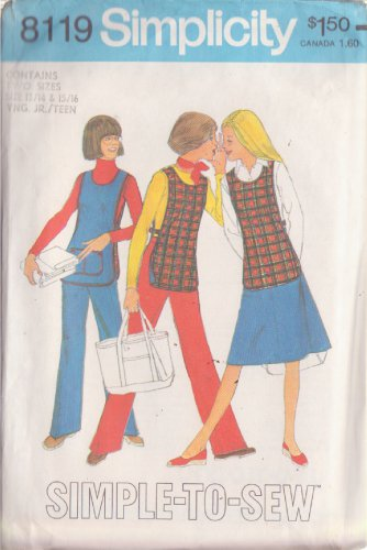 SIMPLICITY PATTERN 8119 YNG JR/TN REVERSIBLE TABARD,PANTS,SKIRT SZ 13/14 15/16