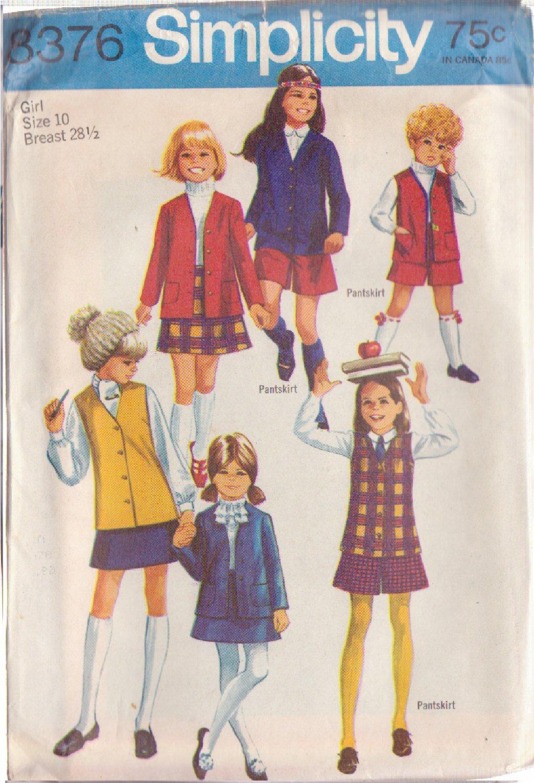 SIMPLICITY VINTAGE PATTERN 8376 CHILD'S JACKET, VEST, SKIRT, PANTSKIRT SIZE 10
