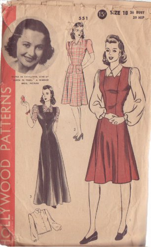 HOLLYWOOD PATTERN 551 MISSES� 1940'S PINAFORE JUMPER, BLOUSE SIZE 18