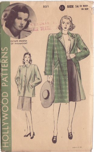 HOLLYWOOD PATTERN 521 MISSES� REVERSIBLE COAT 2 VERSIONS SIZE 14 OLYMPE BRADNA