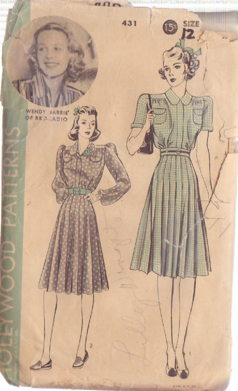 HOLLYWOOD PATTERN 431 MISSES� 1940'S 1 PC DRESS 2 VERSIONS SIZE 12 WENDY BARRIE