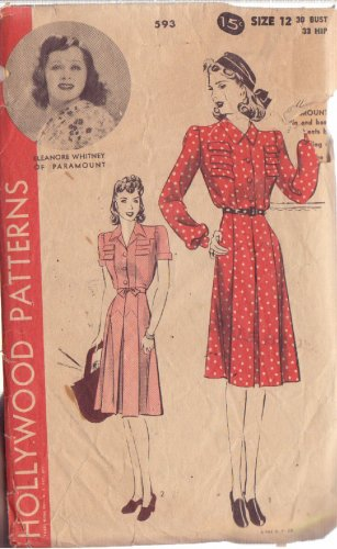 HOLLYWOOD PATTERN 593 MISSES� 1940'S DRESS 2 VARIATIONS SZ 12 ELEANORE WHITNEY