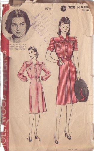 HOLLYWOOD PATTERN 578 MISSES� 1940'S DRESS 2 VARIATIONS SZ 14 BRENDA MARSHALL