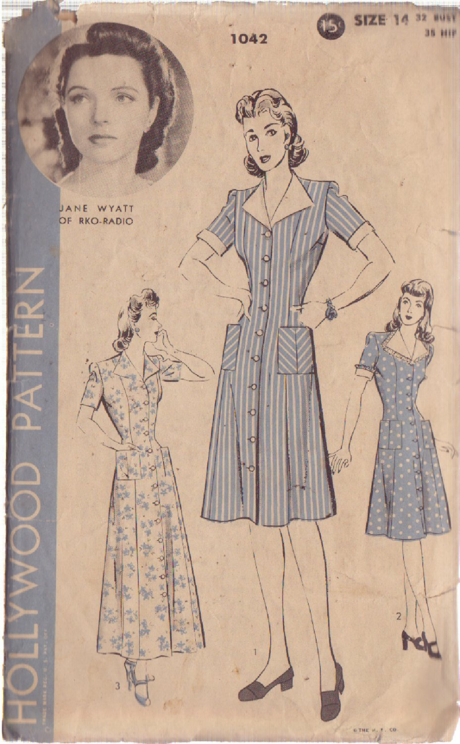 HOLLYWOOD PATTERN 1042 MISSES' DRESS IN 3 VARIATIONS SIZE 14 JANE WYATT