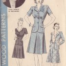 HOLLYWOOD PATTERN 682 MISSES' 2-PIECE SUIT 2 STYLES SIZE 12 ANNE SHIRLEY