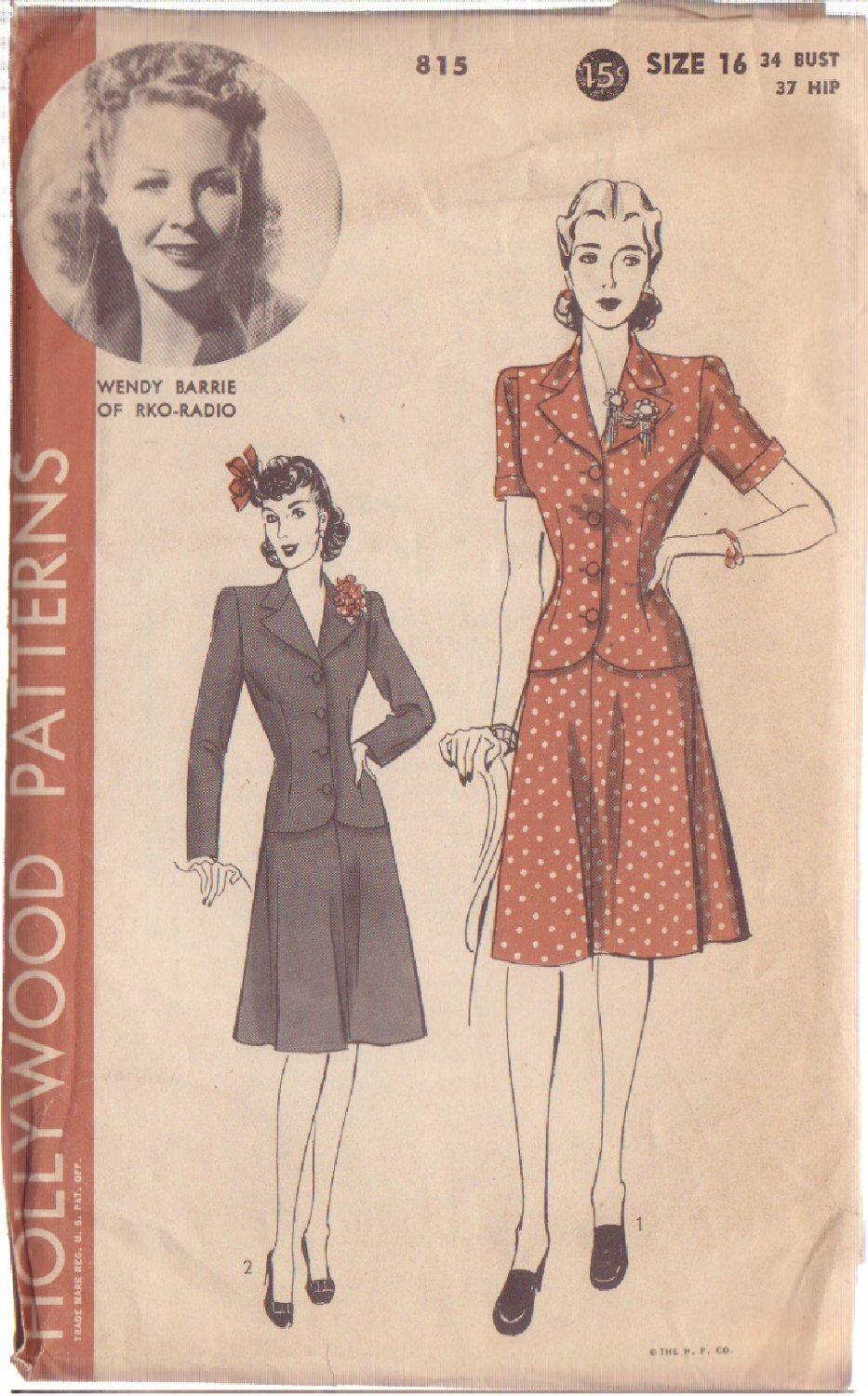 HOLLYWOOD PATTERN 815 MISSES' 2 PC SUIT 2 STYLES SIZE 16 WENDY BARRIE